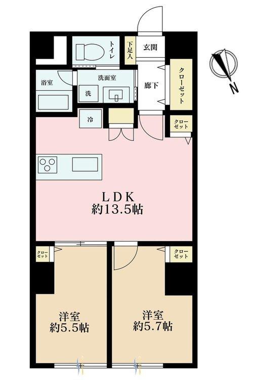 2LDK、価格3590万円、専有面積58.37m2