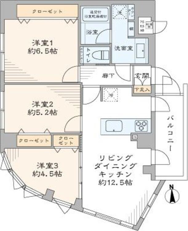専有面積64m2・収納豊富な3LDKのお部屋です。寝室・子供部屋・テレワークスペースとしてお使いいただけるので、ファミリーにオススメです。