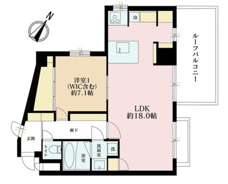 1LDK、価格3990万円、専有面積55.8m2