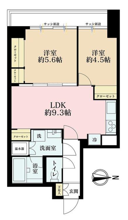 2LDK、価格3880万円、専有面積49.96m2、バルコニー面積5.96m2
