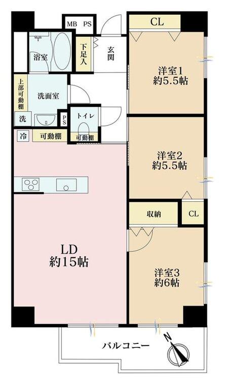 3LDK、価格4188万円、専有面積67.7m2、バルコニー面積5.07m2