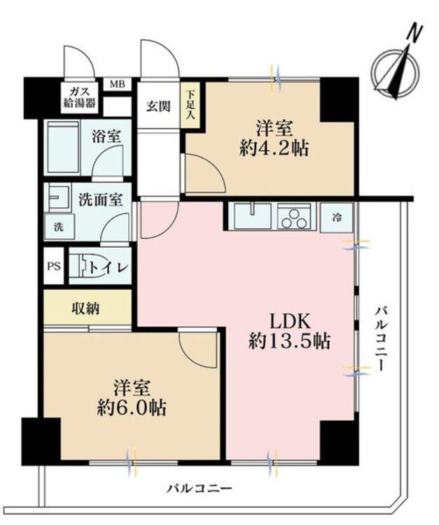 2LDK、価格3830万円、専有面積49.14m2、バルコニー面積12.55m2