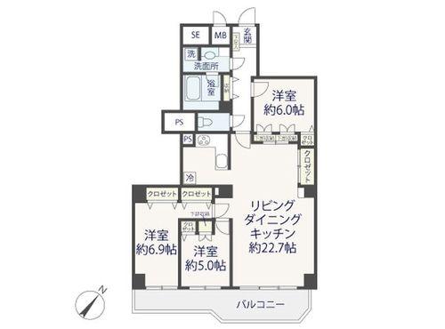 『シーアイマンション駒場A棟』~池尻大橋駅より徒歩10分の大規模マンション~の間取り