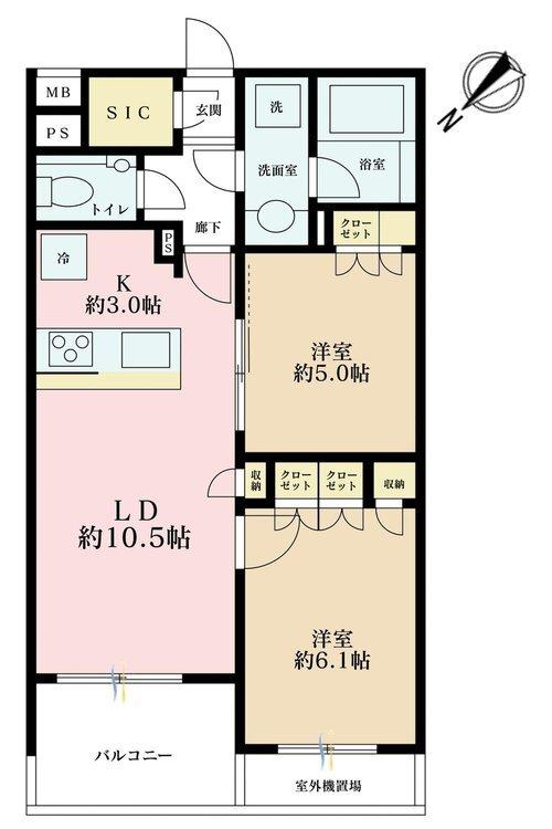 2LDK、価格6980万円、専有面積56.09m2、バルコニー面積5.88m2