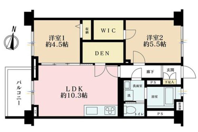 2LDK+S(納戸)、価格2599万円、専有面積54m2、バルコニー面積4.5m2