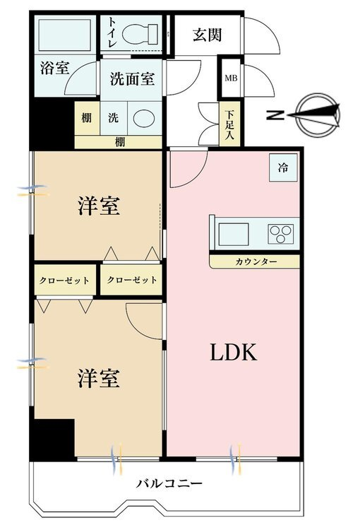2LDK、価格3280万円、専有面積46.27m2、バルコニー面積6.45m2
