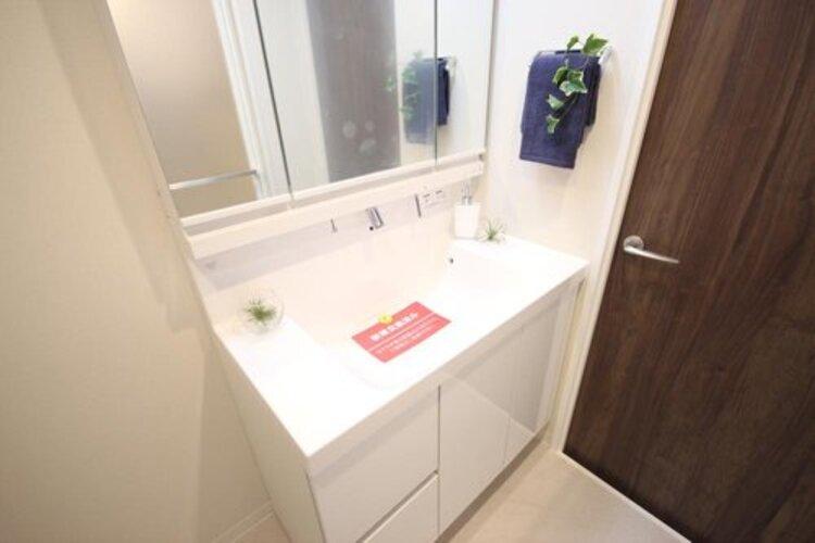 独立洗面台。下部には収納スペースが備わっており、物を置くことなく、スッキリとした印象を与えてくれます。