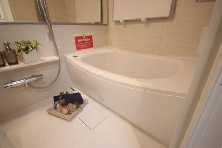 高級感溢れるカラーと大きさ。柔らかな曲線で構成された半身浴も楽しめるバスタブが心地よさをもたらします。