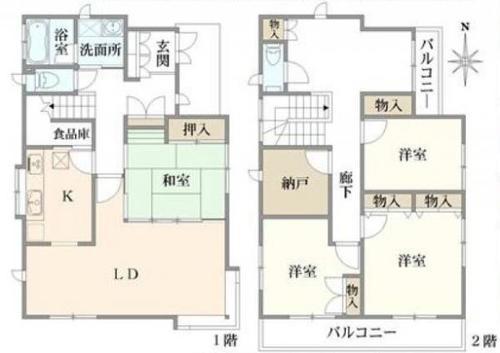 中古 星川 閑静な住宅街の2階建4LDKの物件画像