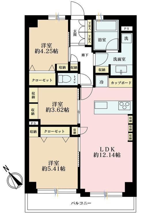 3LDK、価格5180万円、専有面積57.49m2、バルコニー面積6.52m2