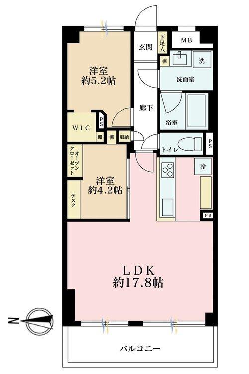 2LDK、価格6980万円、専有面積60.76m2、バルコニー面積8.4m2