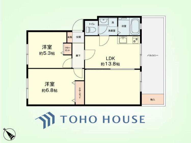 2LDK 専有面積60.99平米、バルコニー面積6.9平米