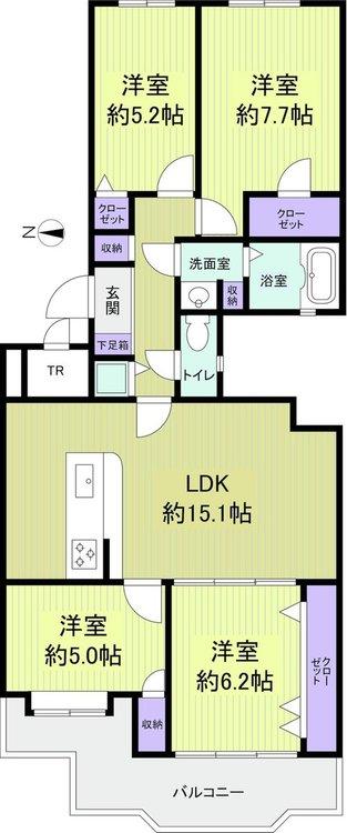 【間取図】 4LDK+WIC、専有面積88.09m2、バルコニー面積10.57m2