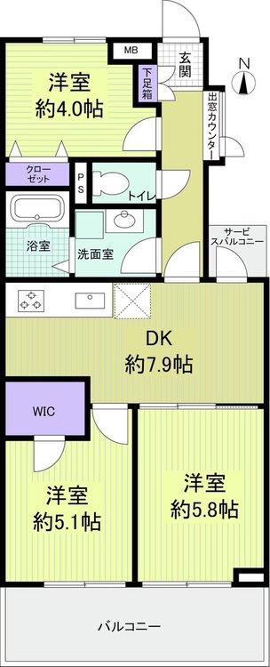 【間取図】 3LDK+WIC、専有面積56.12m2、バルコニー面積9.57m2