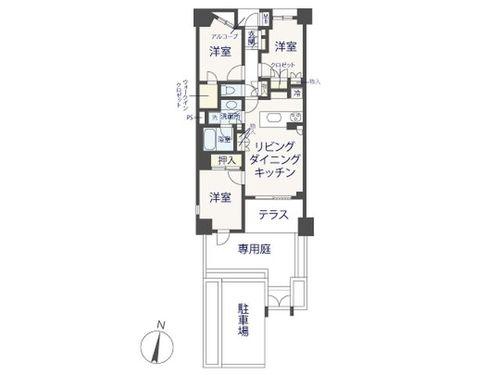 『シティハウス世田谷千歳台』 2路線利用可能!専用庭付きのお部屋♪の間取り