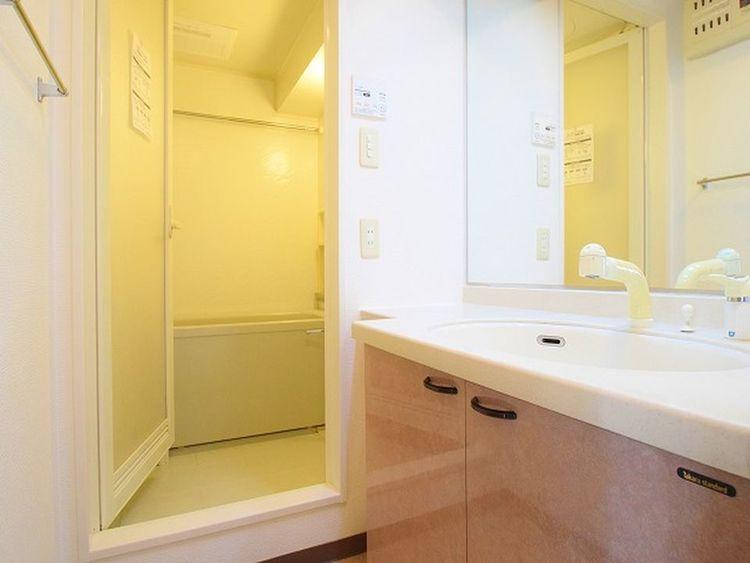 横長の洗面所は並んで身支度を整えることができますので忙しい朝に重宝されます。