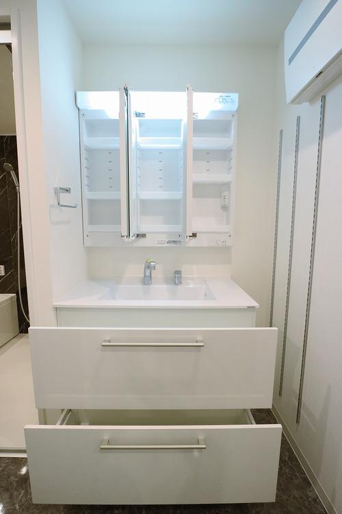 収納豊富で洗面台もスッキリ。ドライヤー、化粧品、タオル類もスッキリ収納可能です。