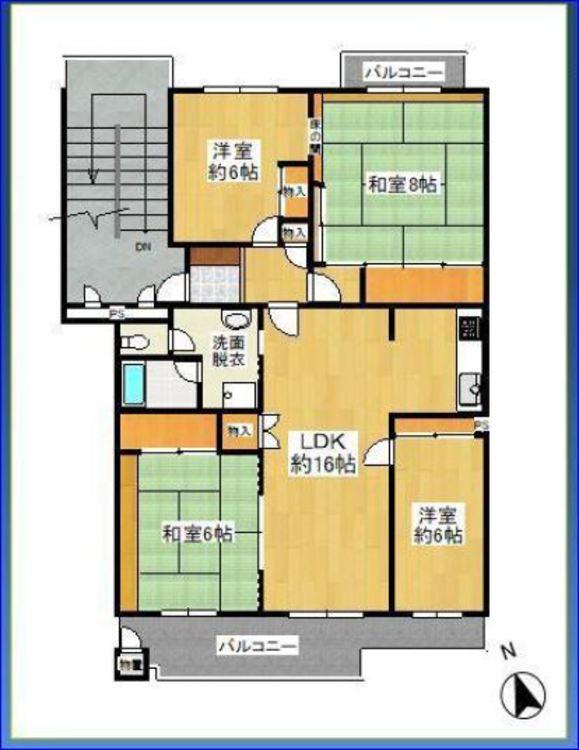 97.53㎡の4LDK。和室、洋室が二部屋ずつ。昭和56年築の中古マンション。駐車場代や管理費などのランニングコストが安い点は魅力。