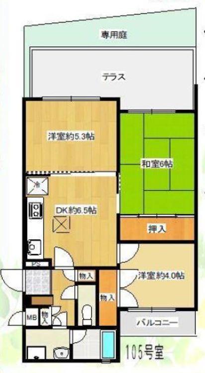 築昭和61年10月。3DKの間取り、洋室約5.3帖、和室6帖、洋室約4.0帖、DK6.5帖の3DK。