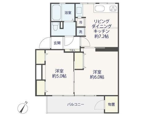 『 烏山北住宅 』南東向き日当たり良好の2LDK~renovation~の間取り