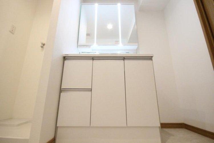 洗面台の周りも広さが確保されており、収納家具を置いたりと工夫もできそうです。