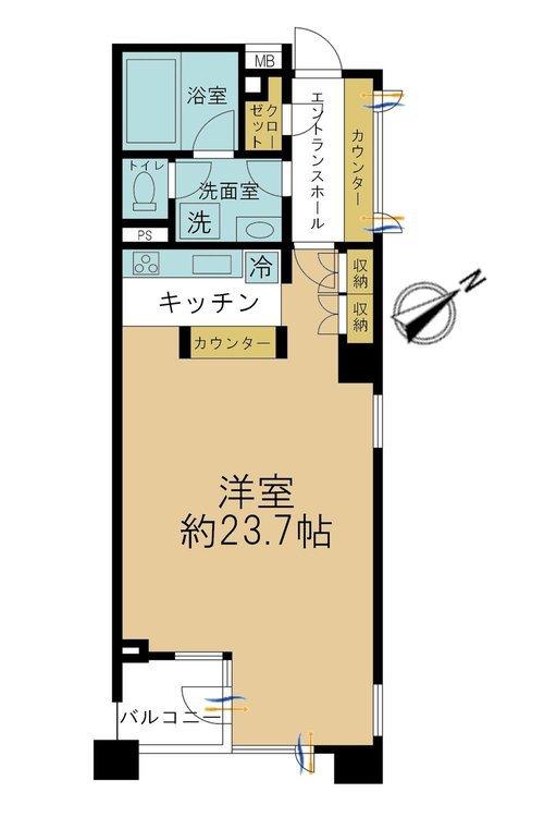 ワンルーム、価格7350万円、専有面積55.28m2、バルコニー面積3.6m2。