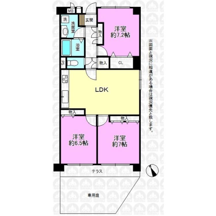 専有面積74.80m2/角部屋につき陽当たり良好