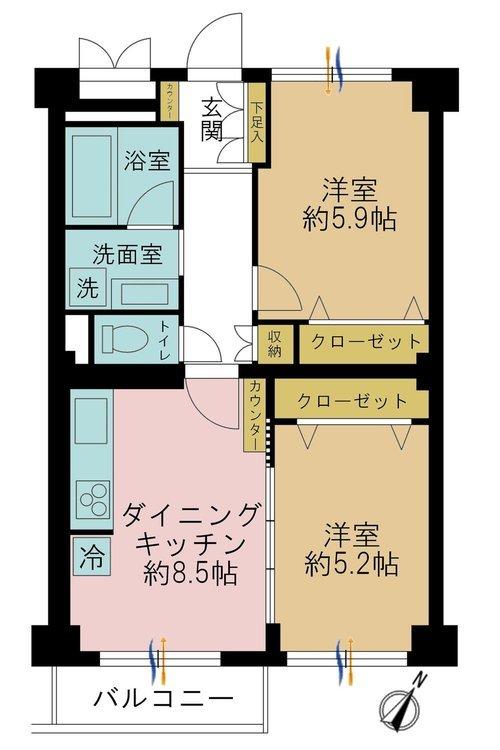 2DK、価格3490万円、専有面積48.84m2、バルコニー面積3.69m2