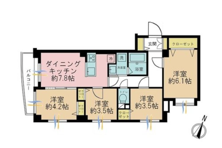 4LDK、価格4390万円、専有面積66.24m2、バルコニー面積4.54m2。