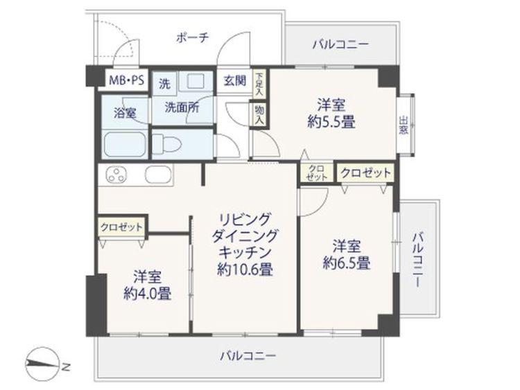 3LDK、価格4999万円、専有面積56.8m2、バルコニー面積14.55m2