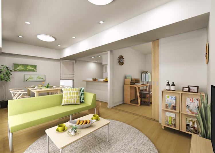 リビングに隣接する建具には引込み戸を採用。用途に合わせて空間をフレキシブルに活用できます