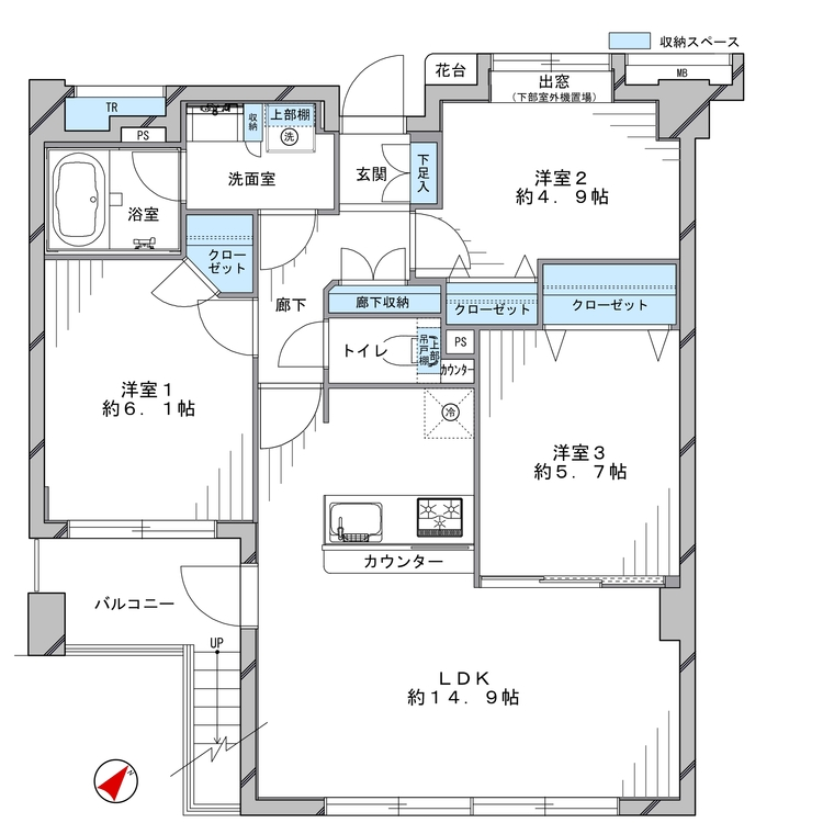 約45.74平米のスカイガーデン付きのお部屋。南東向きで、陽当たり・眺望良好です