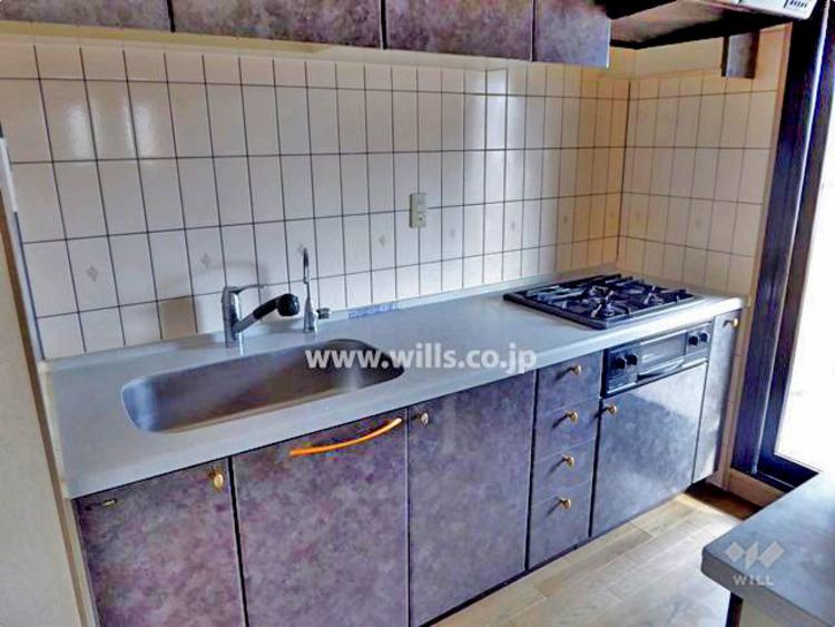 キッチンの背面にはカウンターと収納があります。キッチン横に勝手口がついているので、忙しい朝のゴミ出しにも便利!