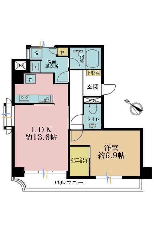1LDK、価格4880万円、占有面積53.31m2、バルコニー面積8.14m2