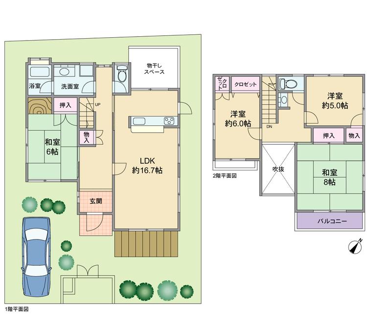 1階は和室が独立したタイプ、各部屋ゆとりのある4LDK、駐車スペースは1台ですが、2台に拡張も可能な敷地形状です。