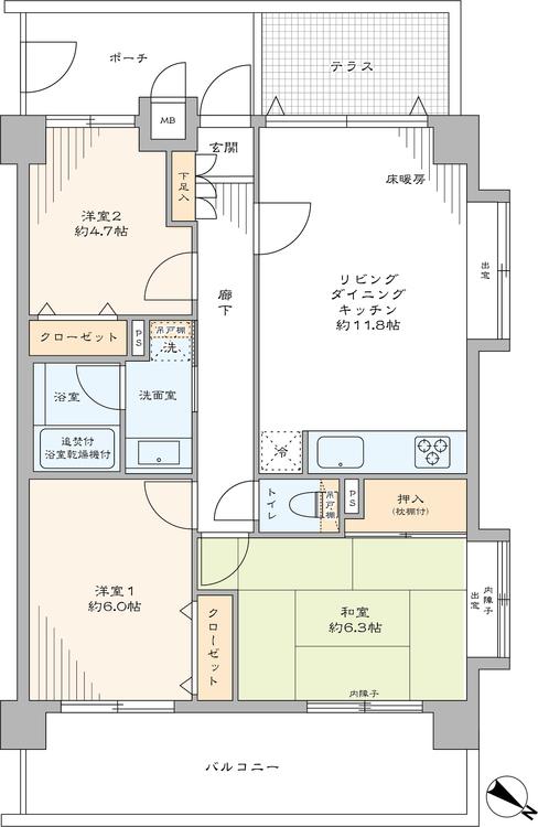 3方向角部屋なので陽当り・眺望良好な物件です。リビングダイニングには床暖房敷設された、和室のある物件です