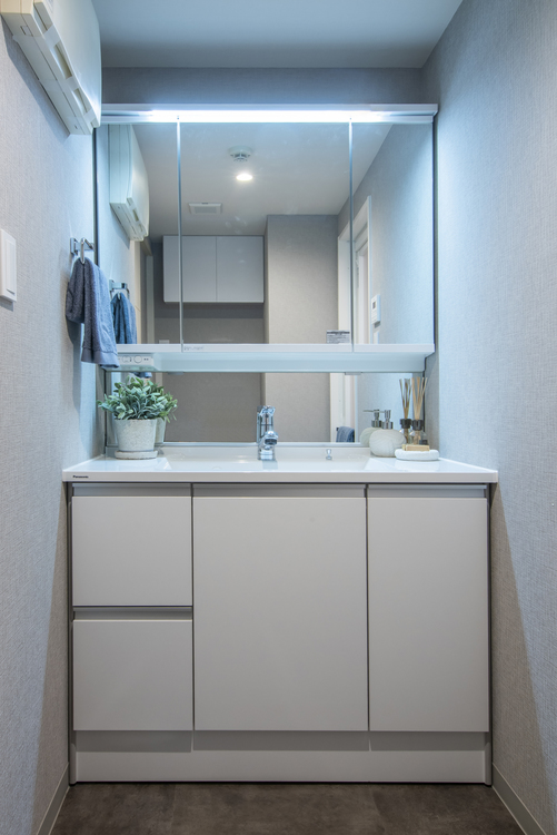洗面所には三面鏡の付いたPanasonic製洗面化粧台を設置