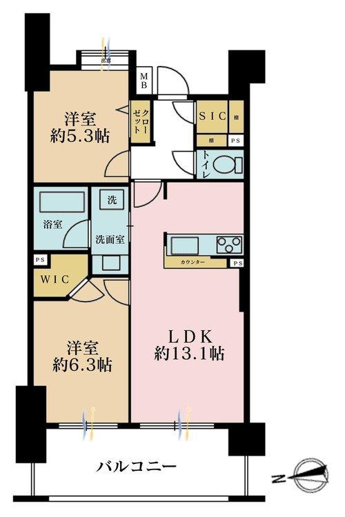 2LDK、価格4190万円、専有面積56.39m2、バルコニー面積11.8m2