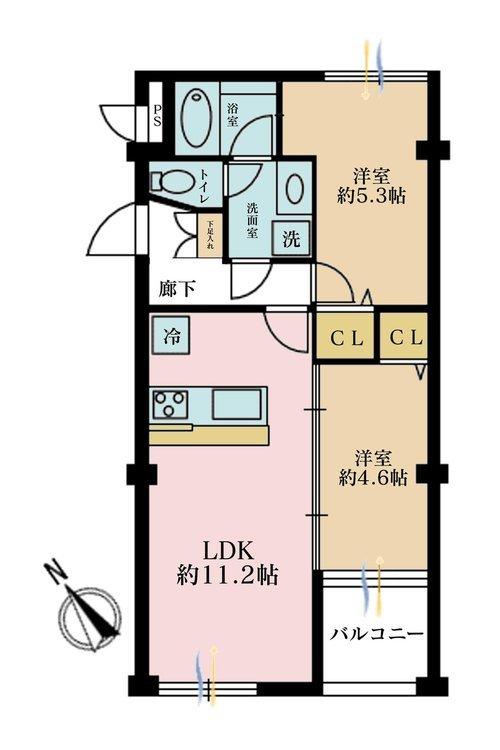 2LDK、価格2580万円、専有面積48.96m2、バルコニー面積3.49m2