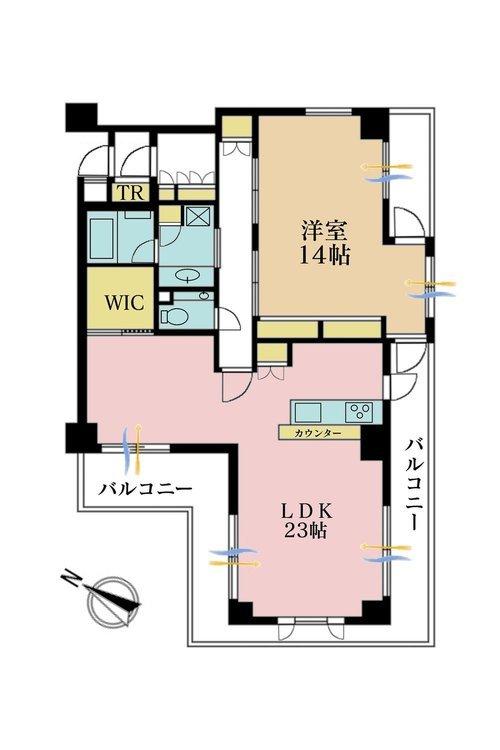 1LDK、価格9000万円、専有面積89.16m2、バルコニー面積15m2