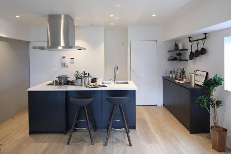 人気のアイランドキッチンを採用し、キッチン周辺の小物は備え付けの棚に収納できます。