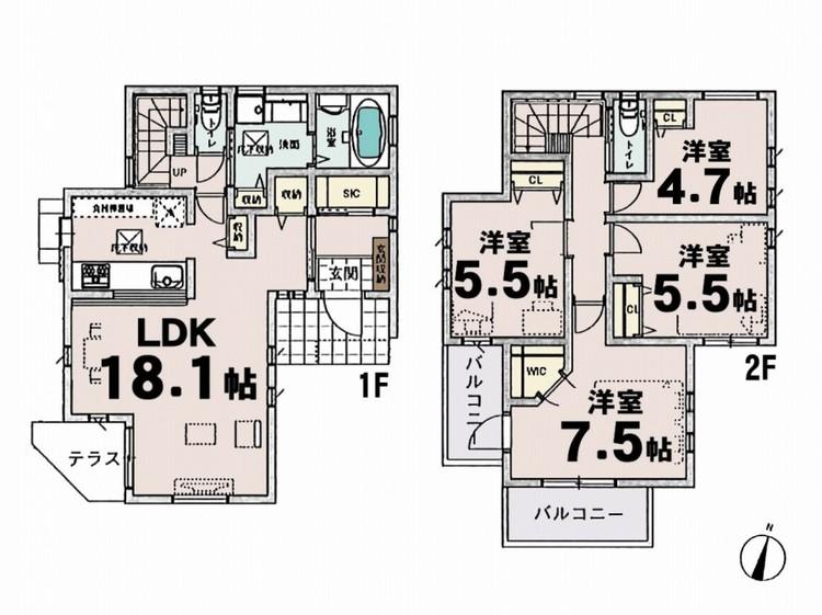 ■4LDK 2階建 18.1帖LDK 7.5帖洋室 5.5帖洋室 5.5帖洋室 4.7帖洋室■敷地面積:100.02m2■延床面積:99.36m2■南側・西側公道 4m■シンプルな内装はおしゃれのポイ