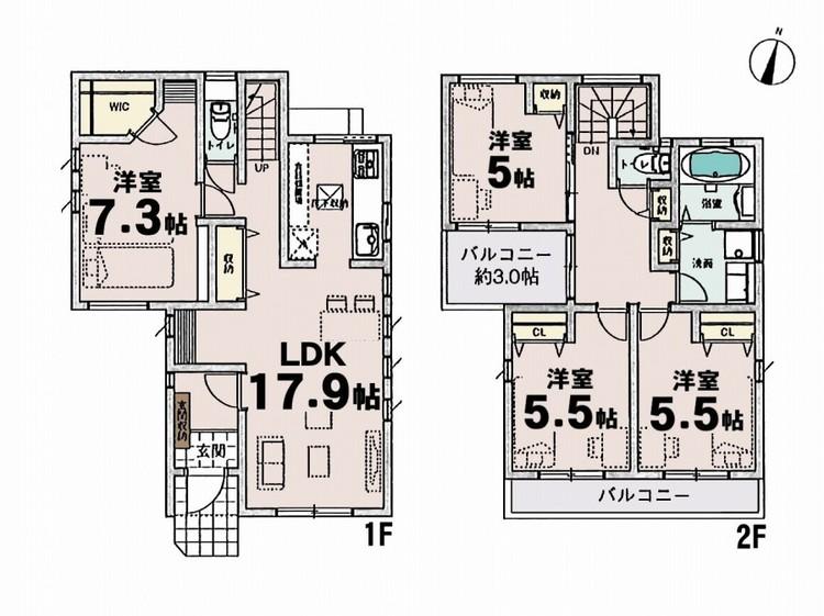 ■4LDK 2階建 17.9帖LDK 7.3帖洋室 5.5帖洋室 5.5帖洋室 5帖洋室■敷地面積:100.01m2■延床面積:97.3m2■南側公道 4m■シンプルな内装はおしゃれのポイントです。