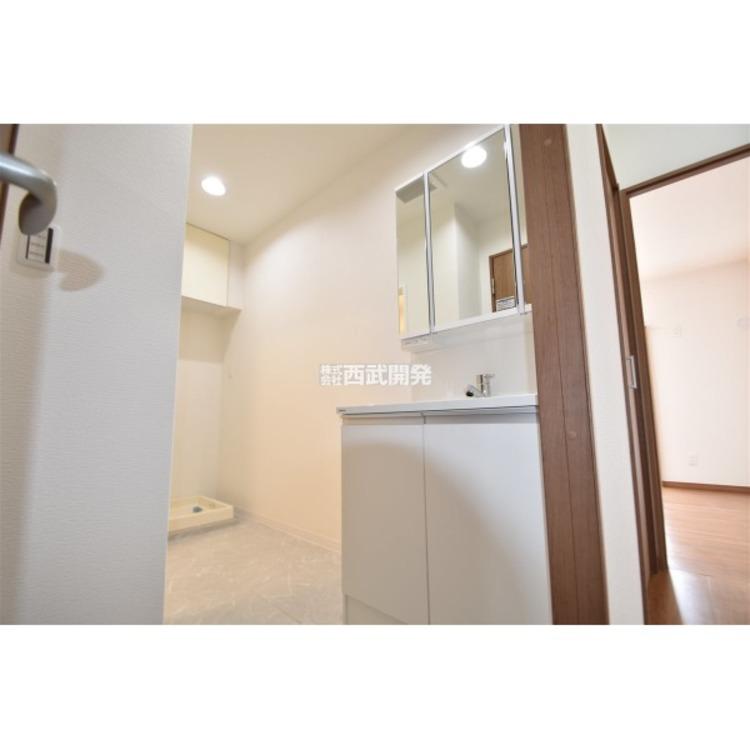三面鏡にハンドシャワー付き、使いやすい洗面台