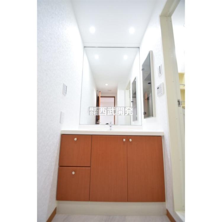 一面鏡張りで身支度もスムーズに。壁には便利な収納付き。