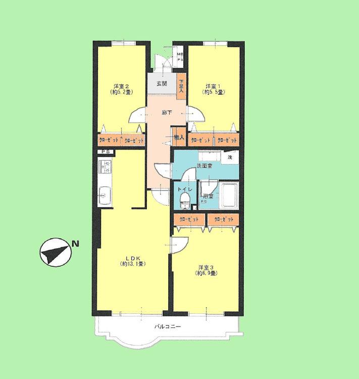 3LDK 専有面積71.64平米、バルコニー面積6.42平米