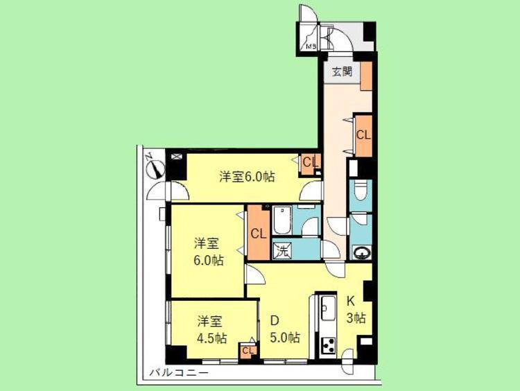 3DK 専有面積67.00平米、バルコニー面積15.85平米