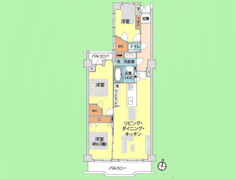 3LDK 専有面積82.22平米、バルコニー面積11.49平米