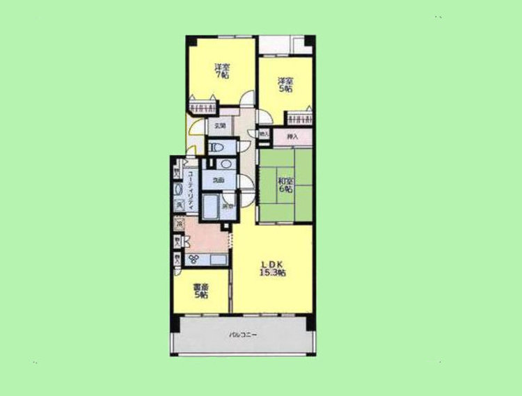 3LDK 書斎 専有面積85.75平米 バルコニー面積14.40平米