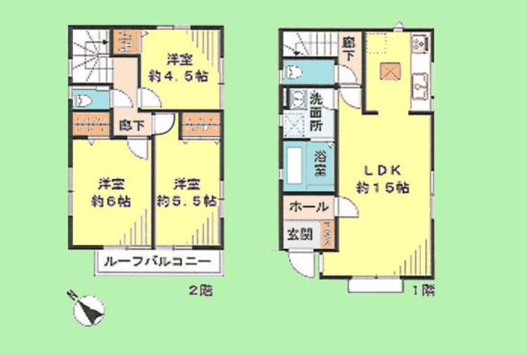 3LDK 土地面積89.34平米、建物面積76.17平米